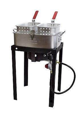 Chard Outdoor 50,000 BTU 18 Qt Propane Gas Dual Basket Tailgate Party Fun Deep Fryer