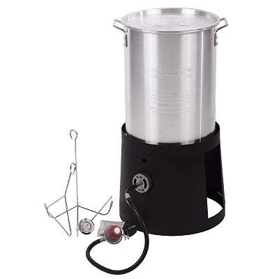 FDW Portable Propane Cooker with 30-Quart Outdoor Turkey Fryer Kit Aluminum Pot