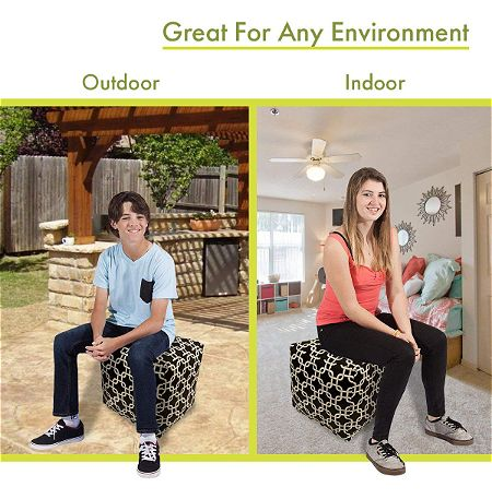 Majestic Home Goods Indoor Outdoor Bean Bag Ottoman Pouf