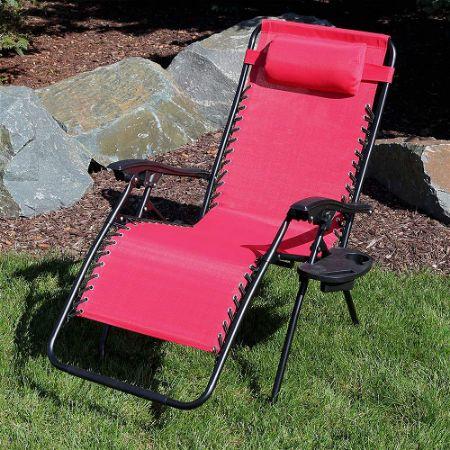 Sunnydaze Outdoor XL Zero Gravity Chaise Lounge Chair