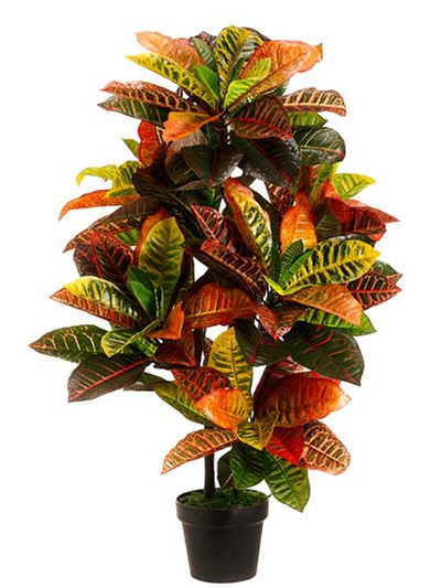 Silk Tree Warehouse One 3 foot Outdoor Artificial Croton Palm Tree UV Rated Potted Plant