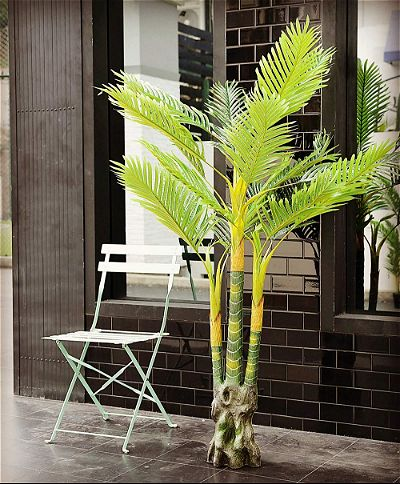 Youz Artificial Palm Plant for Office House Decor 5.35-Feet Indoor Outdoor Silk Green Tree