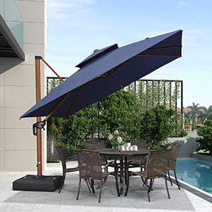Purple Leaf 10-ft Square Cantilever Umbrella in Sunbrella Acrylic