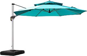 Purple Leaf Umbrella  Octagon Cantilever with Valance in Sunbrella Acrylic, 13', Stone
